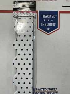 """Industrial Chick School Girl White Black Dot Jumbo Pack 13 Pc x 36"""" 39 Feet Long"""