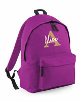 Personalised Name Initial Rucksack Backpack, Girls Boys School Bag, 4 colours