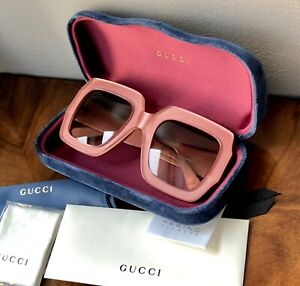 NEW GUCCI Pink Oversized 54mm Square Frame W/Brown Gradient Lens Sunglasses $450