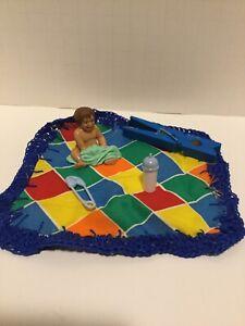 """BABY DOLL FIGURINE Safari Ltd Kid 1.5"""" Dollhouse Nursery handmade blanket Miniat"""