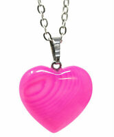Pink Sterling Silver 3/4 ct TGW Pink Natural Heart Pendant Necklace 18""