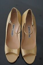 Manolo Blahnik Nude Peep Toe Mary Jane Heels Size EU38.5/UK5.5     3565