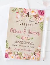 Wedding Invitations - 10 Personalised - Rustic Vintage Floral