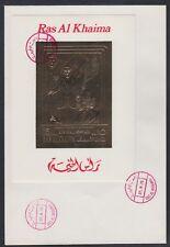 1972 Ras al Khaima FDC Visit of Pompidou Cape Kennedy Space gold foil [brd737]