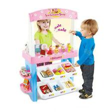 Kids Ice Cream Grocery Shop Supermarket Toy Playset Cash Register & Scanner Pink