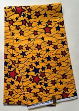 African Fabric, Ankara -  Red, Blue & Dark Yellow 'Celebrity,' By the Yard