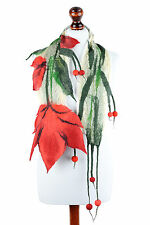 Nuno felt scarf for women with red tulip flower, original, feminine, lightweight