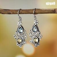 Hot Vintage Jewelry Pear Aquamarine Citrine Flower Drop Dangle Hooks Earrings