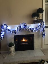 12' Silver White Blue Snowflake Christmas garland Battery Operated