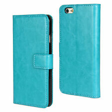 """For iPhone 6/6s 4.7"""" Turquoise Genuine Leather Cash Card Wallet Case Cover"""