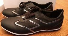 Versace Collection Black Leather Fashion Sneakers Shoes Size 11