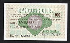 MINIASSEGNO BANCO DI SICILIA LIRE 100 DATATO 14 FEBBRAIO 1977