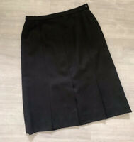Jaeger Ladies Pleated Skirt 100% Wool Black Knee Length Size 16 Occasion Casual