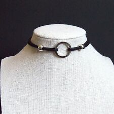 O-Ring Pendant Double Suede Layers Adjustable Punk Choker Necklace