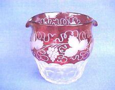 Antique Victorian Era Cranberry Glass Wine Rinser With Etched Grape & Leaf Motif
