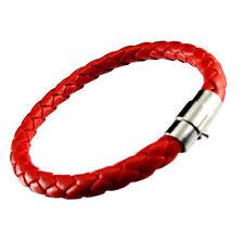 Fashion Unisex Women Men Braided Leather Steel Magnetic Clasp Bracelet Handmade