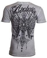 Archaic AFFLICTION Men T-Shirt REDEMPTION Cross Wings Tattoo Biker M-4XL $40