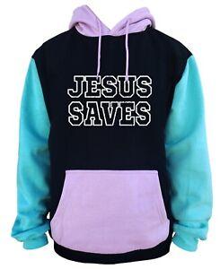 Mens Jesus Saves Black Color Block Hoodie Religious Believe God Christ Christian