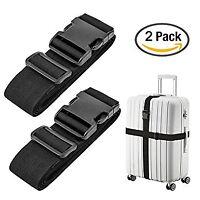 Lot 2 Black Adjustable Luggage Straps Suitcase Secure Baggage Check Travel Belt