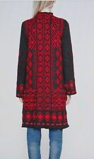 BNWT JOHNNY WAS BIYA AJIJIC LONG SWEATER COAT CHARCOAL GREY & RED SZ  M 12 14