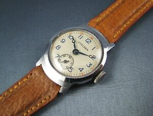 Vintage Early Citizen Military Style  Watch  1930s 1940s