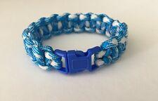 "Handmade Cobra Paracord Blue & White Bracelet 6"" wrist"