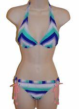 Hobie bikini size S blue chevron stripe halter ruched back swimsuit 2 piece new