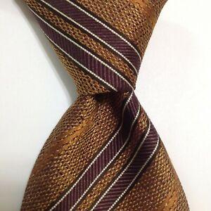 ERMENEGILDO ZEGNA Men's 100% Silk Necktie ITALY Luxury STRIPED Gold/Brown EUC