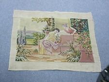 """Vintage Hand Stitched Berlin Wool-work Needlepoint Tapestry 16"""" x 26"""""""