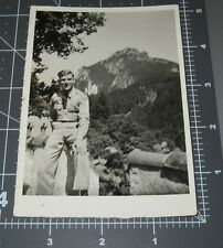 WWII KING LUDWIG'S CASTLE Germany Neuschwanstein Blonde ARMY Man Vintage PHOTO