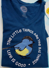 LIFE IS GOOD Women M Blue V-NECK Little Things are the Big Things S/S Tee NWT