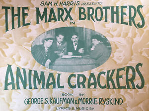 Vintage Sheet Music Broadway Theater The Marx Brothers Animal Crackers 1928 VF