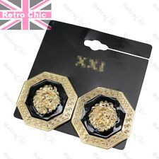 BIG RETRO LION EARRINGS studs GOLD FASHION greek key roman coin orb disc BLACK