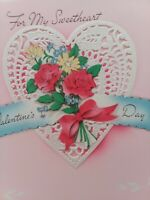 Vtg 1940s SWEETHEART Pink Layers Die Cut LACE DOILY VALENTINE GREETING CARD