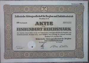 Aktie, Schlesische AG für Bergbau und Zinkhüttenbetrieb, Beuthen (Art.3210)