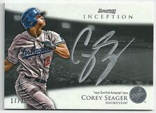2013 Bowman Inception COREY SEAGER Silver Signings SILVER Ink Auto #17/25