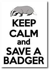 KEEP CALM AND SAVE A BADGER - Badgers / Wild Life Vinyl Sticker 15 cm x 17 cm