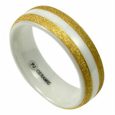 Men's White CERAMIC Ring with Brushed Golden Accent Bands, size 11 in Gift Box