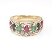 14K Yellow Gold Natural Ruby Emerald Sapphire Diamond Band Ring Size 5.5 GFI