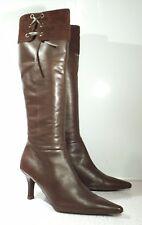 Clarks UK 7 / 40 chocolate Brown leather Knee high / high slim heel Pointed Zip