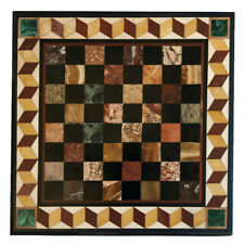"15""x15"" Marble Side Coffee Table Top Chess Marquetry Multi Inlay Precious Stones"