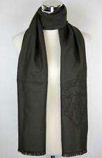 New Gucci Men's Hysteria Crest Dark Brown Wool Long Scarf 344993 3264