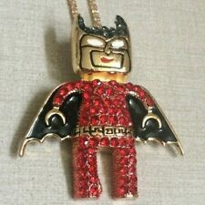 Betsy Johnson Red Crystal Bat Man Pendant Brooch on Long Gold Necklace Adorable