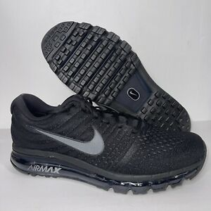 New Men's Nike Air Max 2017 Running Shoes Size 13 Triple Black 849559-004 Gym