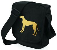 Greyhound Bag Shoulder Bags Metallic Gold / Silver on Black Bag Dog Mothers Day