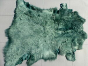 sheepskin leather hide Light Green Tipped Emerald Green Toscana long silky hair