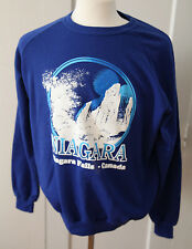 Vintage Niagra Falls Canada Blue Crewneck Sweatshirt Pullover Waterfall 70s Retr