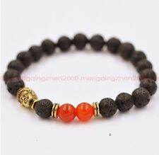 Natural Volcanic rock Red agate bead 8mm Buddha lucky man mala bracelet