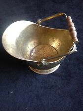 Early Antique Brass Coal Scuttle Hammered Brass