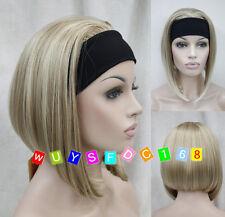 Ladies Cute Short 3/4 wig with headband blonde mix straight half wigs + wig cap